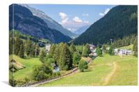 The Vallorcine valley in the French Alps in summer, Canvas Print