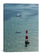 Avro Vulcan low pass over Eastbourne lighthouse, Canvas Print
