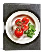 Tomatoes with Basil, Canvas Print
