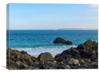 Godrevy view, through the rocks, Canvas Print