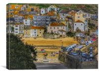A busy day on  the harbour (St Ives ), Canvas Print