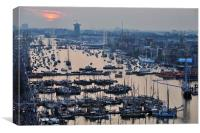 High view of the Ijhaven port in Amsterdam, Canvas Print