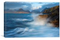Elgol waves, Isle of Skye, Inner Hebrides of Scot, Canvas Print