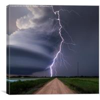Huge lightning strike over Nebraska, USA. , Canvas Print
