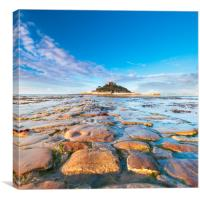 Old stone causeway, St Michaels Mount., Canvas Print