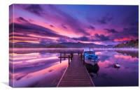 Derwent water Jetty sunrise, Lake District. , Canvas Print