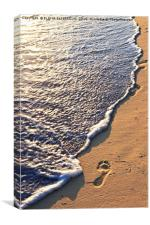 Tropical beach with footprints, Canvas Print