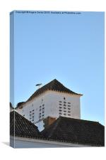 Stork and nest on roof in Faro. Portugal , Canvas Print