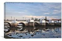 Antique bridge of Tavira and reflections, Canvas Print