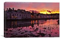 Tavira city after sunset and welcoming twilight , Canvas Print