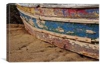 Old and Beaten Wooden boat, Canvas Print