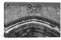 Pentagram on a medieval church portal , Canvas Print