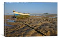 Old Fishing Boat and Low Tide , Canvas Print