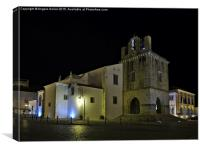 Se Church at night in Faro , Canvas Print