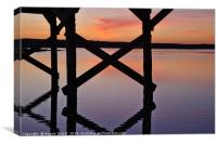 Wooden Bridge Silhouette at Dusk, Canvas Print
