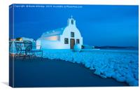 Whitewashed church in Oia at dusk., Canvas Print