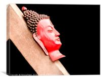 A head shot of hand made buddha on a wood in Kathm, Canvas Print