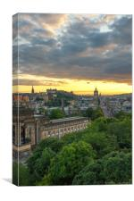 Edinburgh Skyline at Sunset (Portrait), Canvas Print