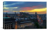 Sunset over Edinburgh, Canvas Print