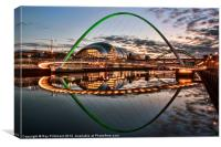 Green Millennium Bridge at Newcastle, Canvas Print
