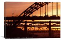 Newcastle Bridges at Sunset, Canvas Print