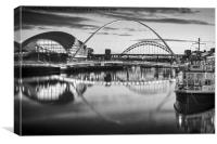 Black and White Millennium Bridge, Canvas Print