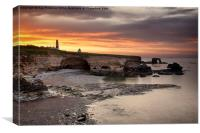 Souter Lighthouse at Sunset, Canvas Print