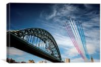 Red Arrows Flying Over The Tyne Bridge, Canvas Print