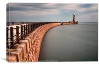 Roker Pier in the Sun, Canvas Print