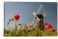 Windmill and Poppies, Canvas Print