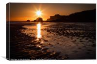 Sunrise at South Shields Beach, Canvas Print