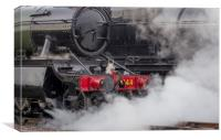 Close up of steam emitting from a locomotive, Canvas Print