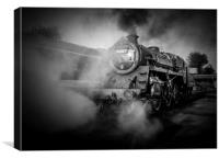 The  Power of Steam Black &  White , Canvas Print