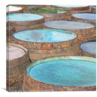 painted whisky barrels, Canvas Print