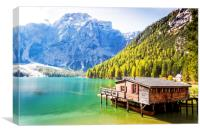 The boathouse at Lago di braies, Canvas Print