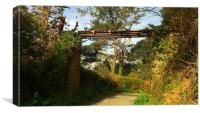 An Old Bridge Over a Road in Devon, Canvas Print