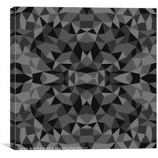 Abstract Low Poly Triangles - Dark Grey, Canvas Print