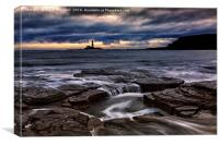 St Mary's Lighthouse From Old Hartley, Canvas Print