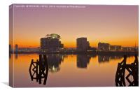 Cardiff Harbour at Dusk, Canvas Print