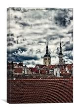 Church Towers Behind The Rooftops, Canvas Print
