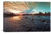 Dramatic Sunset By The River, Canvas Print