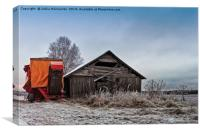 Potato Harvester By An Old Barn, Canvas Print