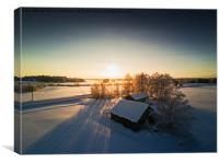 Farm Houses In The Winter Sunset, Canvas Print