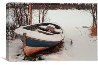 Old Fishing Boat Covered With Snow, Canvas Print