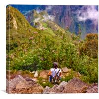 Woman Resting at Highs of Machu Picchu Mountain, Canvas Print