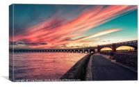 Dundee Tay Rail Bridge Sunset, Canvas Print