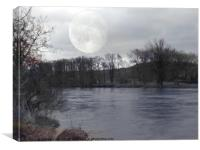 river wye in moonlight, Canvas Print