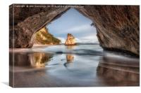 Sunrise at Cathedral Cove, Coromandel, New Zealand, Canvas Print
