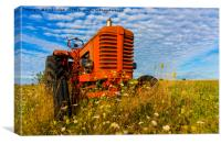 Bright Red Tractor, Canvas Print