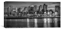 BOSTON Evening Skyline | Monochrome Panorama, Canvas Print
